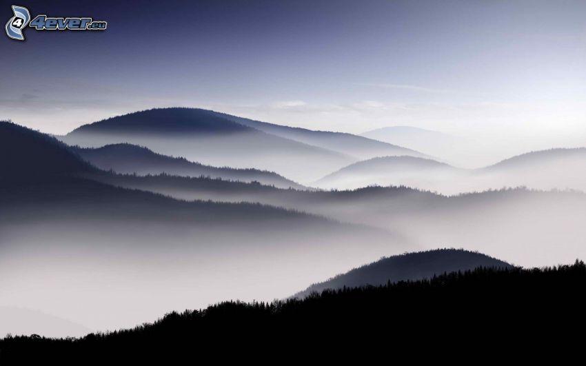 colina, inversión térmica, niebla