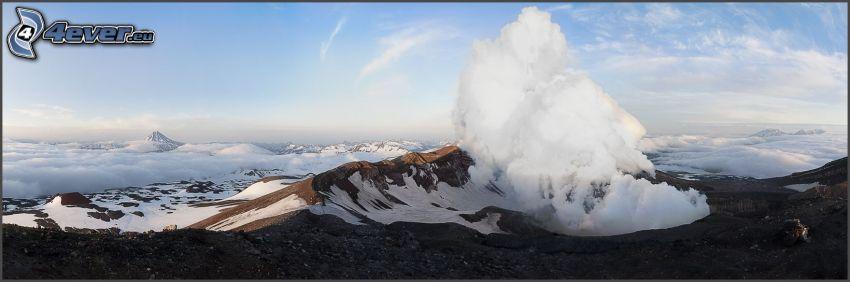 colinas cubiertas de nieve, nube