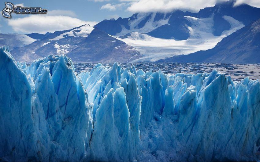 glaciar, nieve, colinas cubiertas de nieve