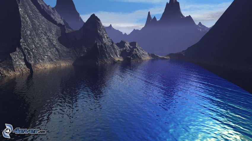 Islandia, bahía, montañas