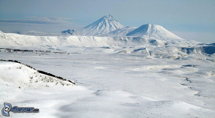 Kronotsky, paisaje nevado