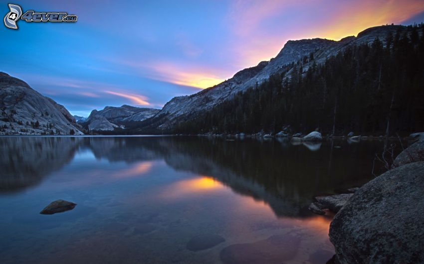 lago, atardecer, puesta del sol, montañas rocosas