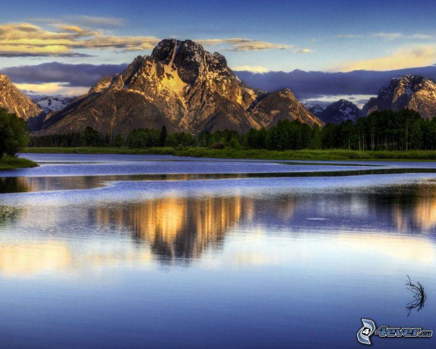 lago, montaña rocosa, reflejo