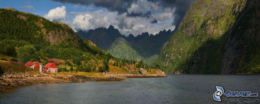 lago, montañas rocosas, casas, nubes