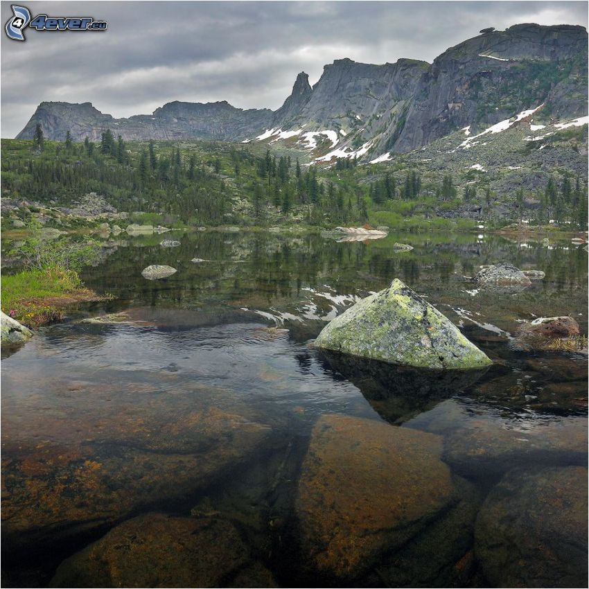 lago, rocas, montaña rocosa, nieve