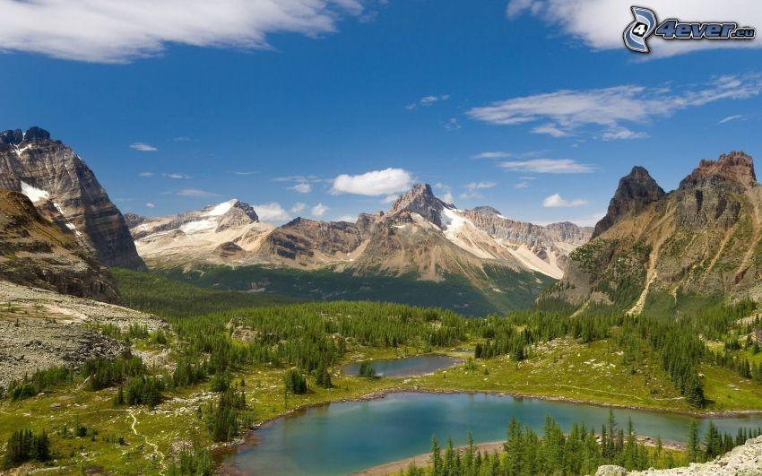 lago de montaña, montaña rocosa