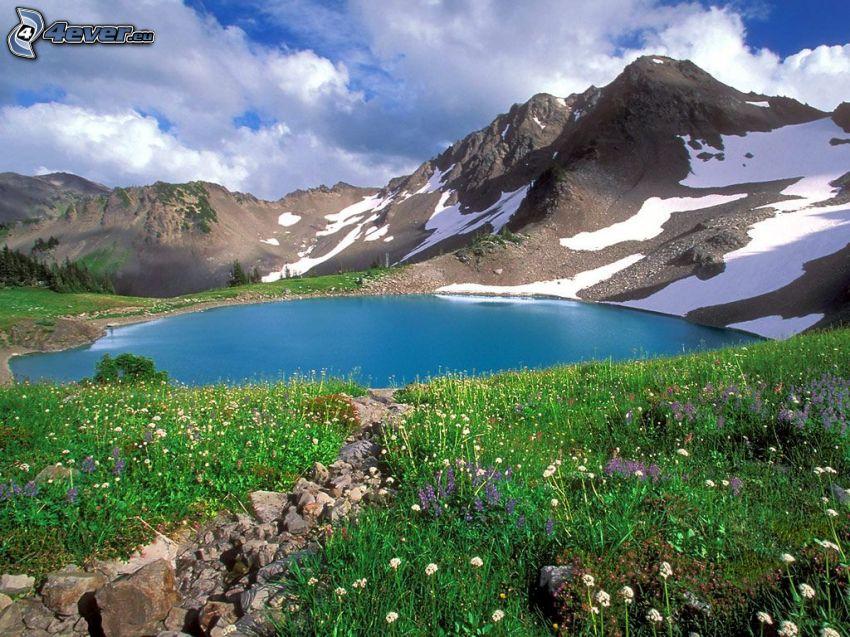 lago de montaña, naturaleza, lago, montañas, rocas, piedras