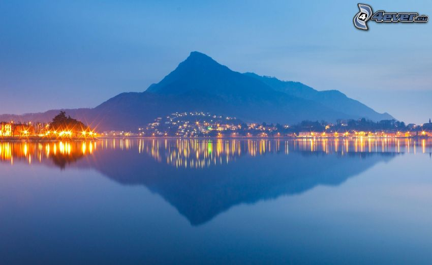 montaña, lago, reflejo, atardecer, iluminación