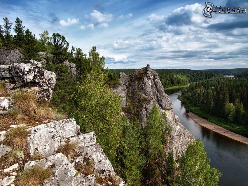 montaña rocosa, árboles, río