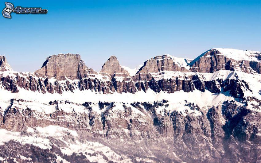 montaña rocosa, montañas nevadas