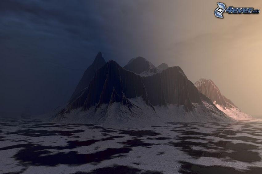 montaña rocosa, nieve