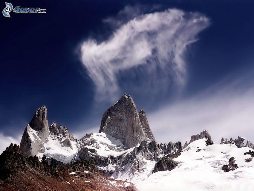 montaña rocosa, nube, nieve