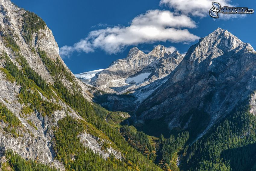 montañas altas, montaña rocosa, nieve
