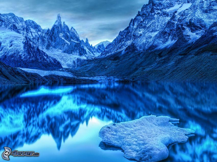 montañas nevadas, lago, reflejo