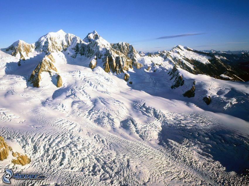Monte Cook, montañas nevadas, nieve, Nueva Zelanda