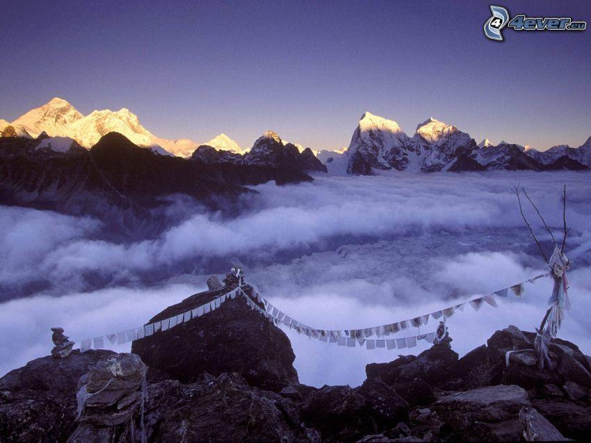 Monte Everest, Nepal, colina, nubes