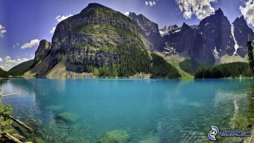 Moraine Lake, lago de montaña, lago azul, montaña rocosa