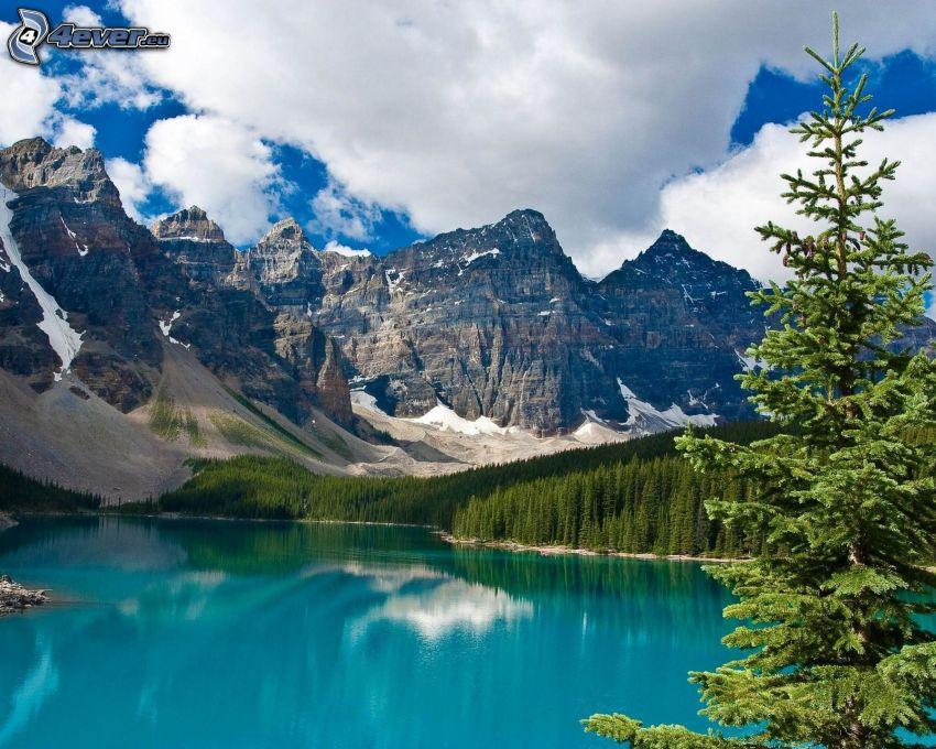 Moraine Lake, Parque Nacional Banff, lago azul, pícea, montaña rocosa, nubes