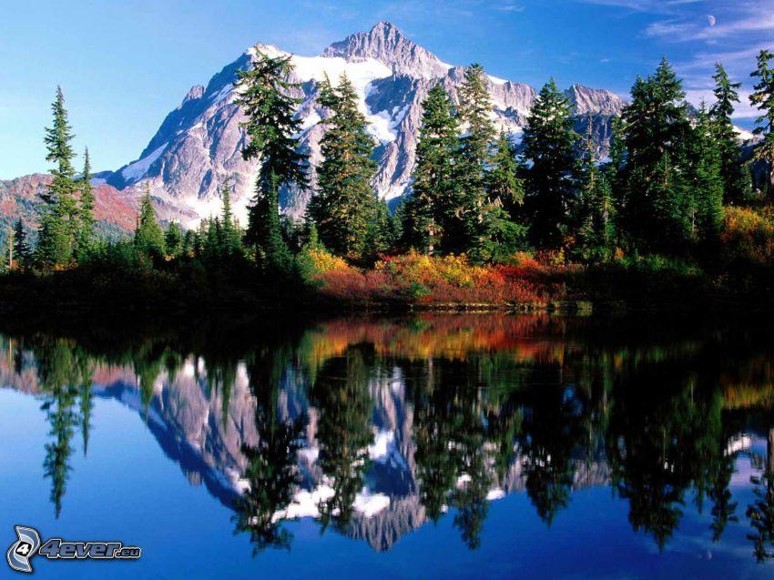 Mount Baker, Snoqualmie National Forest, Lago en el bosque, árboles coníferos, otoño, reflejo, montañas