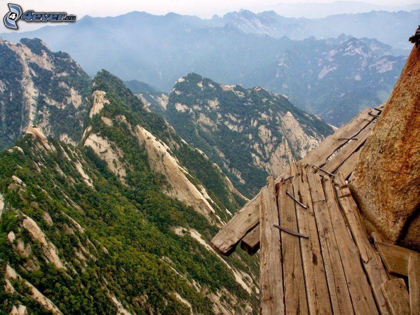 Mount Huang, montaña rocosa, acera, peligro