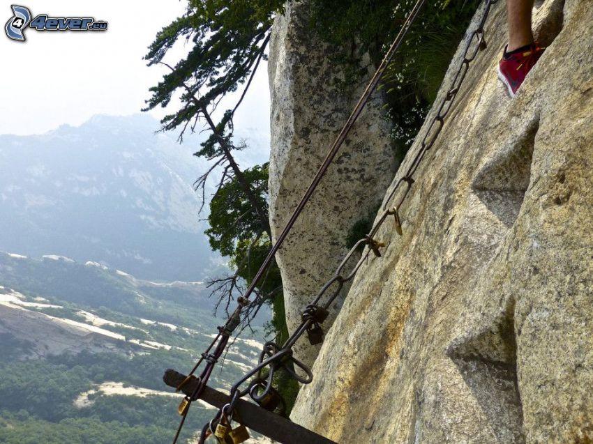Mount Huang, montaña rocosa, cadenas, vista
