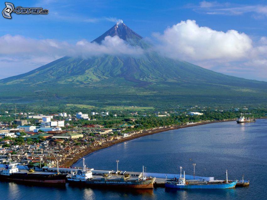 Mount Mayon, Filipinas, volcán, naves, mar, nube