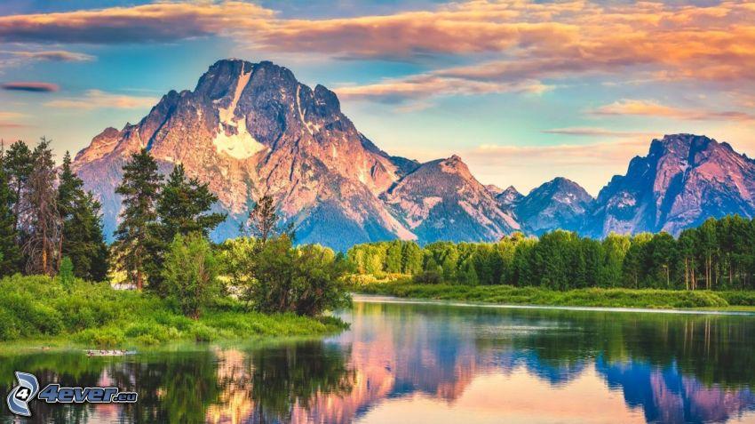 Mount Moran, Wyoming, lago, bosque, montaña rocosa, HDR