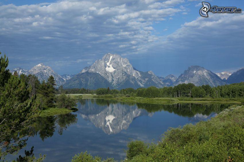 Mount Moran, Wyoming, lago, reflejo, montaña rocosa, bosque