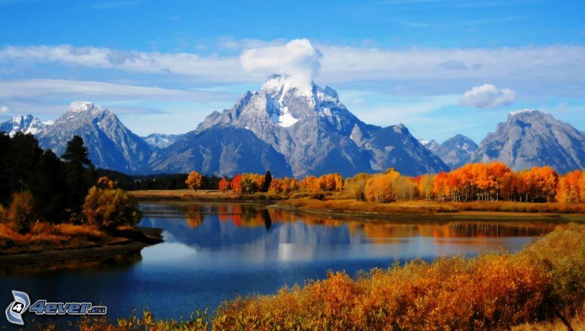 Mount Moran, Wyoming, montaña rocosa, lago, árboles otoñales