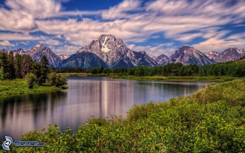 Mount Moran, Wyoming, montaña rocosa, lago, bosque, HDR
