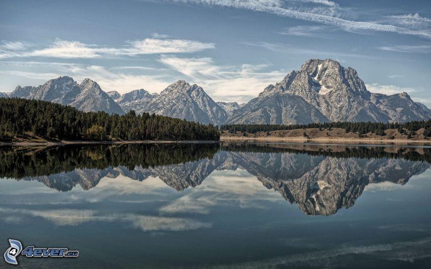 Mount Moran, Wyoming, montaña rocosa, lago, reflejo