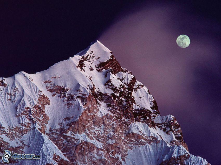 Mount Nuptse, colina, montaña, nieve, Luna