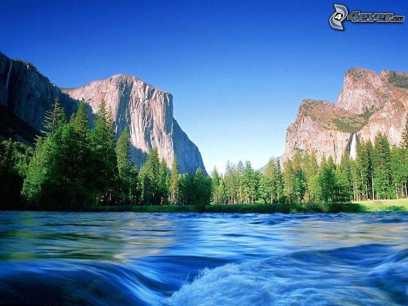 Parque Nacional de Yellowstone, río, ondas, árboles coníferos, montaña rocosa, cielo