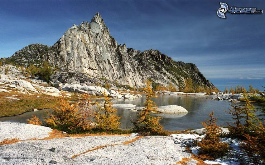 Prusik Peak, colina, montaña, lago
