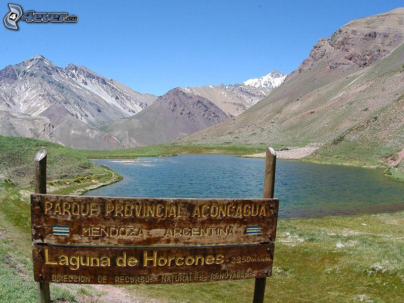 tablero, Aconcagua, lago de montaña