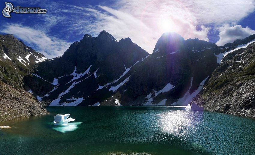 Totes Gebirge, lago de montaña, montaña rocosa