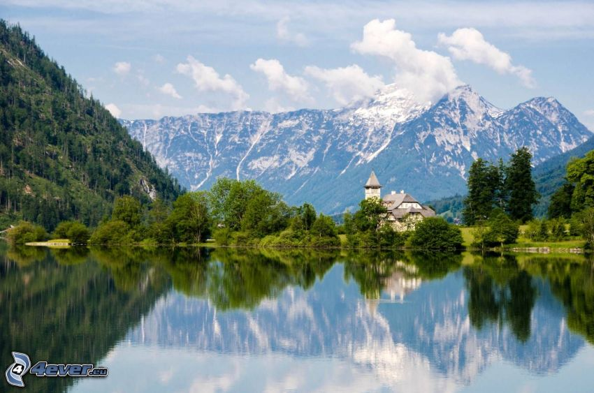Totes Gebirge, montaña rocosa, iglesia, lago