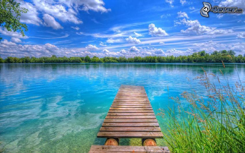 muelle de madera, lago, bosque, nubes, HDR