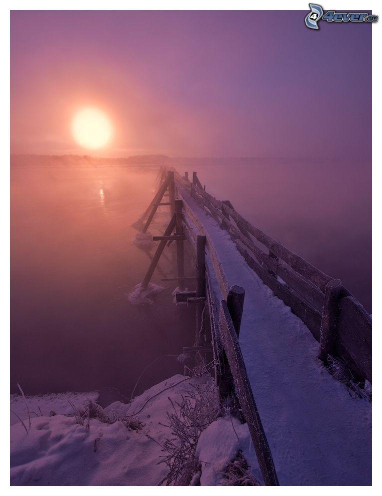 muelle de madera, nieve, lago, puesta del sol, niebla