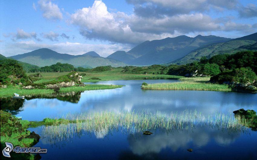 naturaleza, colina, hierba, lago, nubes