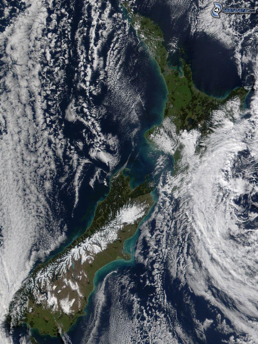 Nueva Zelanda, imagen del satélite, Planeta Tierra, nubes, tierra, mar