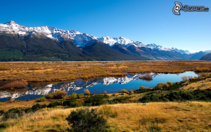 Nueva Zelanda, piscina, montañas nevadas, hierba amarilla