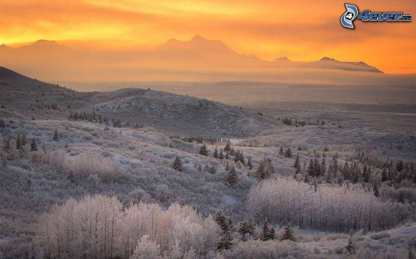 paisaje helado, salida del sol, cielo anaranjado