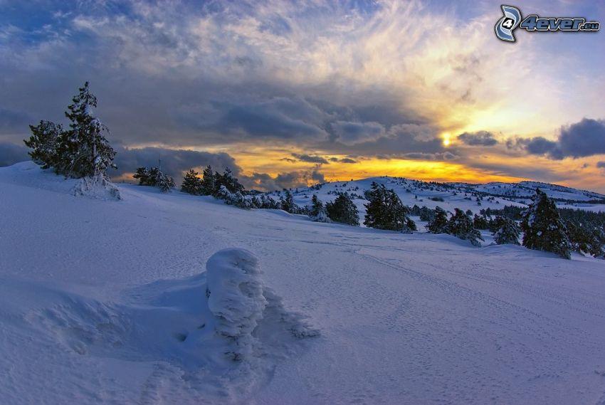 paisaje nevado, puesta del sol