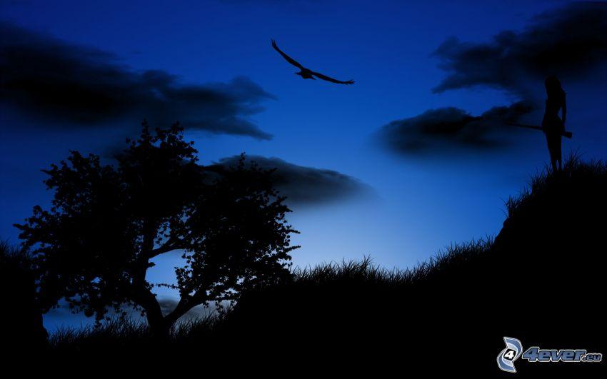 paisaje nocturno, siluetas de los árboles, águila