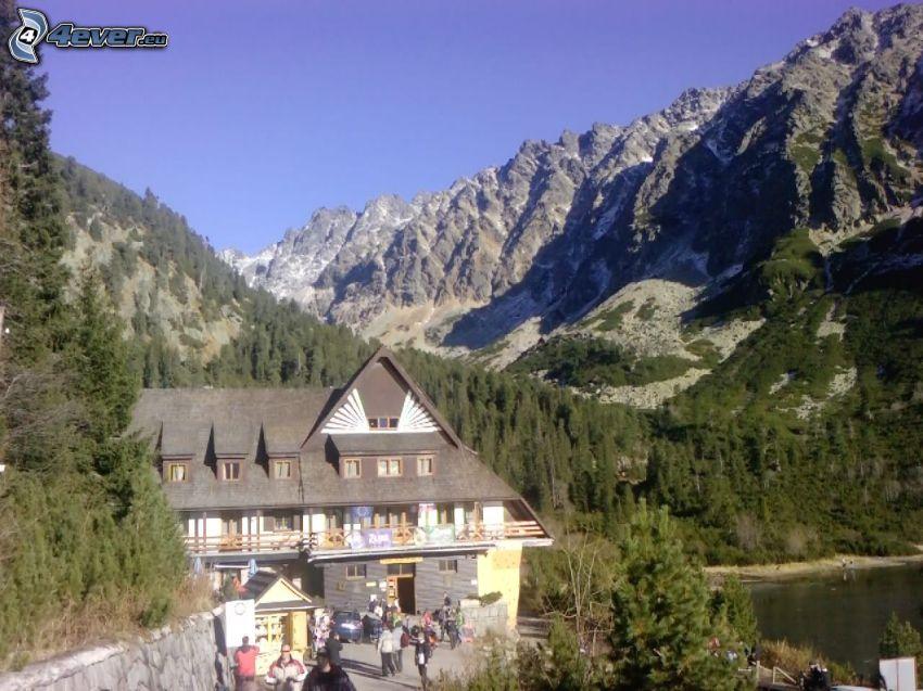 Alto Tatra, choza, montañas, lago de montaña