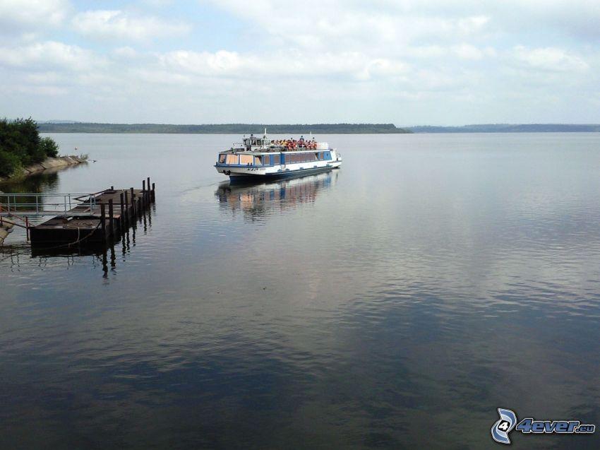 barco turístico, agua, puerto