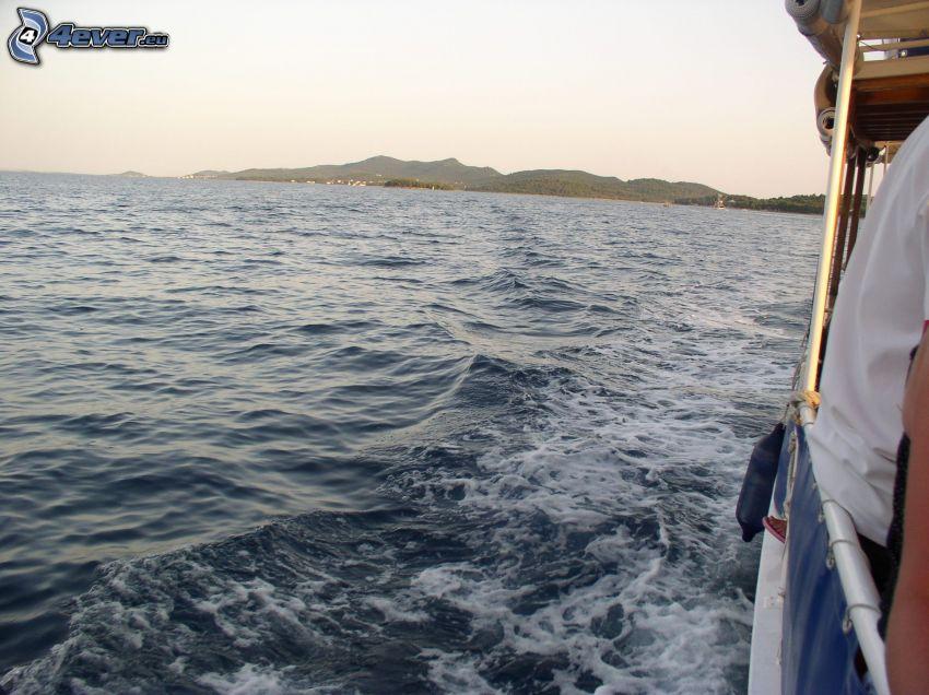 barco turístico, lago, agua