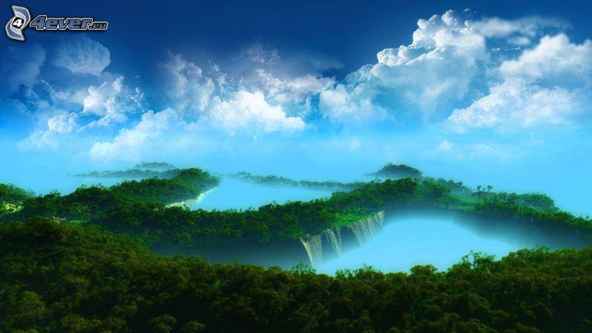 bosque, nubes, lago
