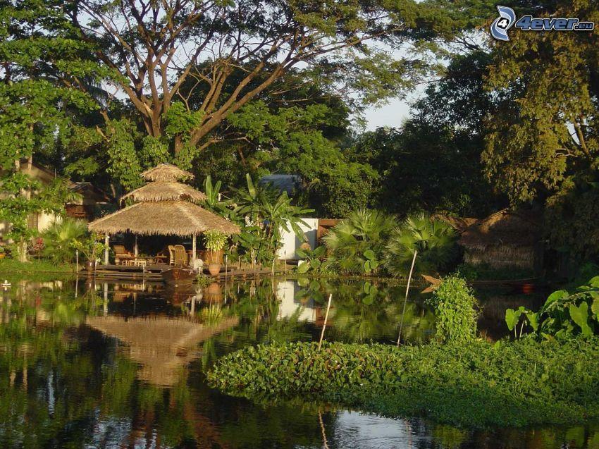 casa sobre agua, oasis, jardín, lujo, vacaciones, naturaleza